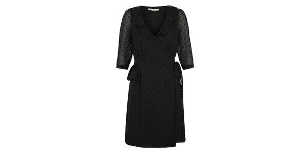 Dámske čierne večerné šaty s bodkami Uttam Boutique