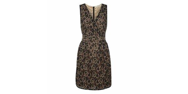 Dámske šaty s čiernobéžovou čipkou Uttam Boutique