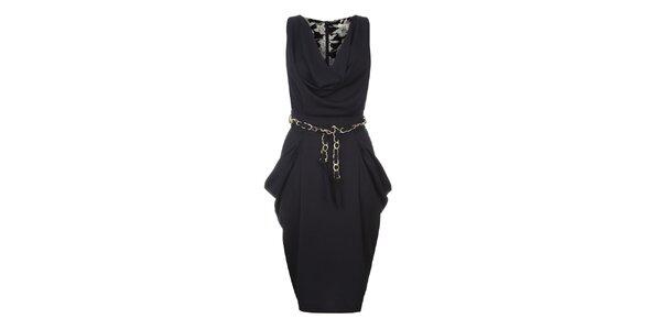 Dámske tmavo modré šaty s riasením Uttam Boutique