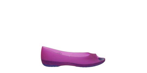 Dámske fuchsiovo-fialové balerínky Crocs s otvorenou špičkou