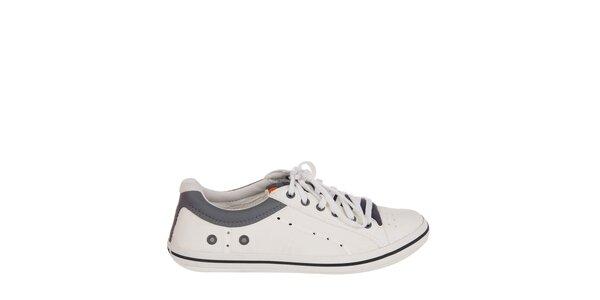 Pánske bielo-sivé kožené tenisky Crocs