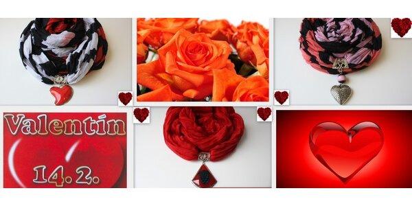 Valentínsky darček - šáliky s príveskom v tvare srdiečka