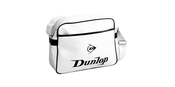 Športová biela taška s čiernym logom Dunlop