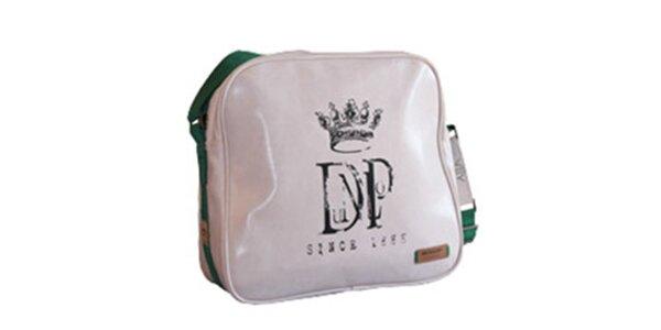 Biela taška cez rameno so zeleným popruhom Dunlop