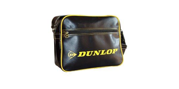 Športová čierna taška so žltým logom Dunlop
