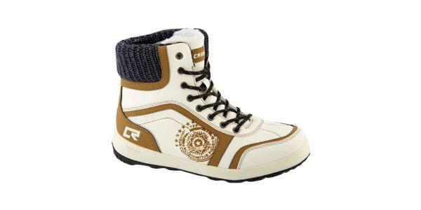 Dámske biele topánky s okrovými detailmi Crosby