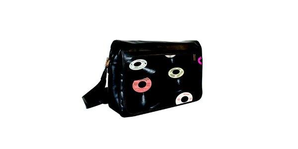 Čierna messenger taška s potlačou vinylových dosiek Kothai