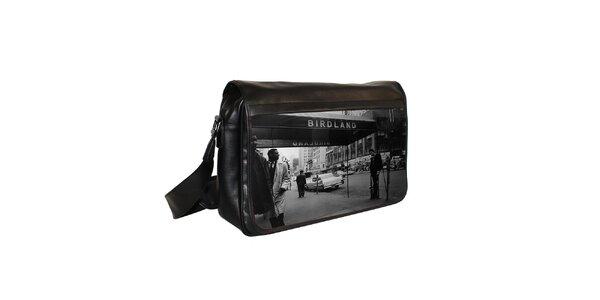 Čierna messenger taška s potlačou jazzového klubu Kothai