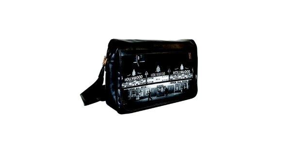Čierna messenger taška s potlačou Hollywoodu Kothai