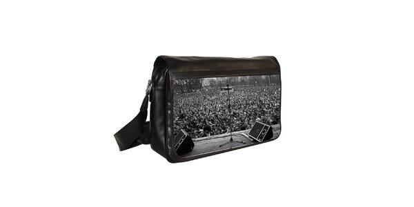 Čierna messenger taška s motívom mikrofónu Kothai