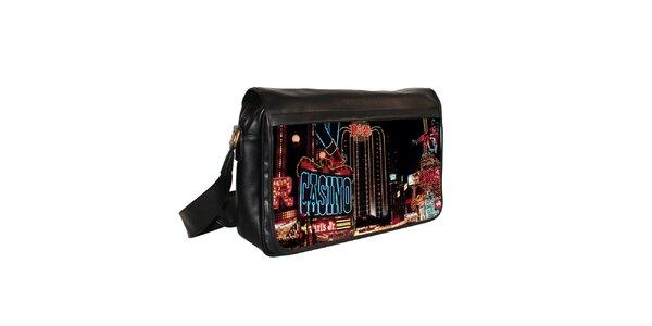 Čierna messenger taška s motívom kasína Kothai