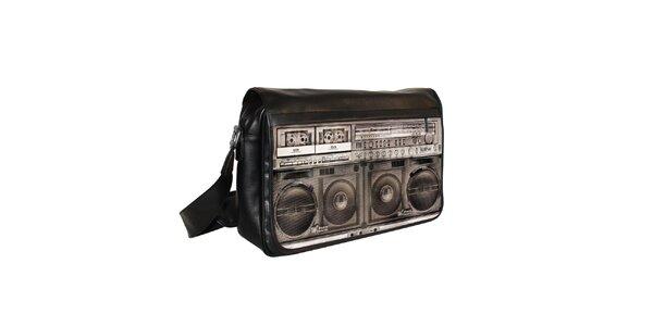 Čierna messenger taška s motívom hudobného prehrávača Kothai