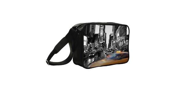 Čierna taška s potlačou New Yorku Kothai