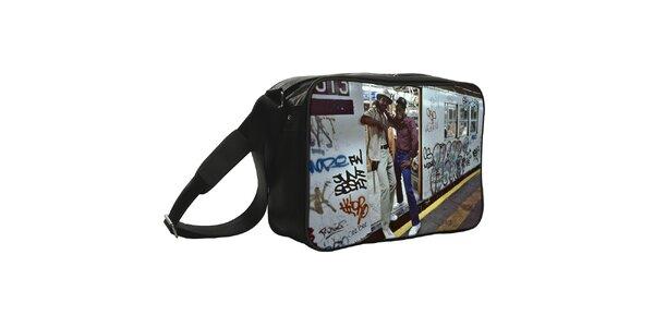 Čierna taška s potlačou metra Kothai