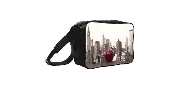 Čierna taška s potlačou veľkého jablka Kothai