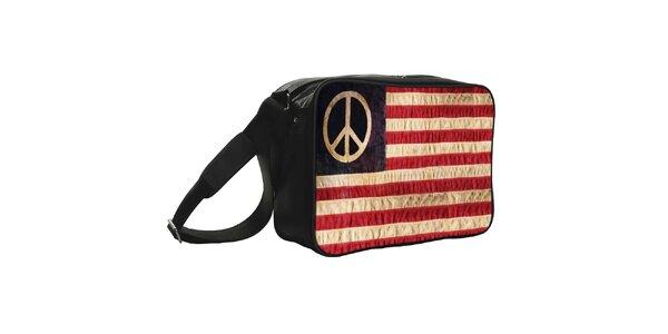 Čierna taška s hippie vlajkou Kothai