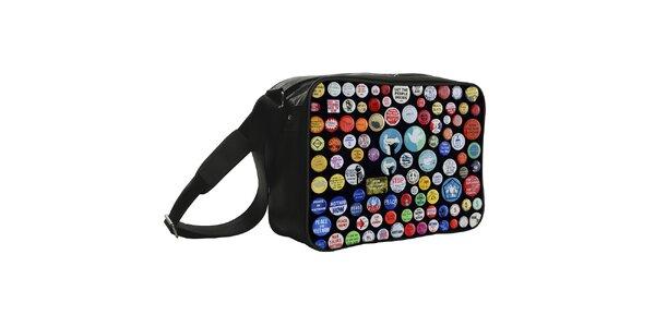 Čierna taška s potlačou odznačikov Kothai