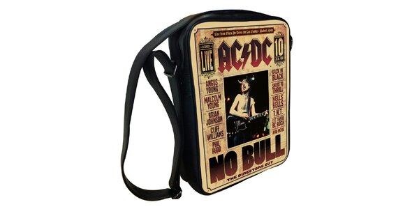 Čierna taška cez rameno s motívom AC/DC Kothai
