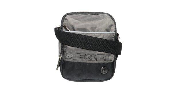 Pánsky šedo-čierny messenger cez rameno Diesel