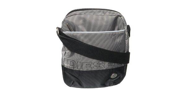 Pánsky šedo-čierny messenger s nápisom Diesel