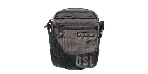 Pánsky tmavo šedý messenger so zipsom Diesel