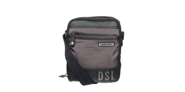Pánsky tmavo šedý messenger so zipsom a logom Diesel