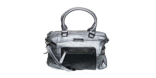 Dámska šedá metalická kabelka s čiernym dielom Diesel