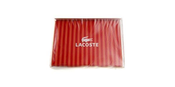 Prúžkovaný sýto červený set posteľného prádla Lacoste