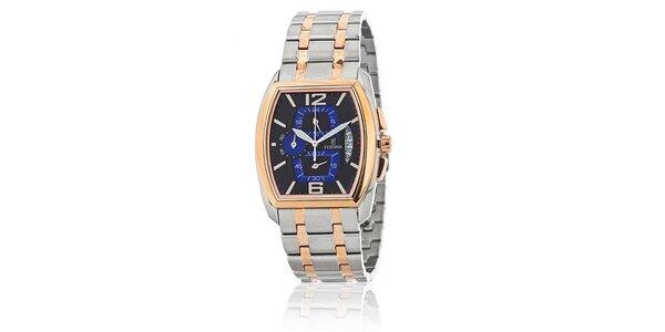 Strieborné oceľové hodinky Festina so zlatými detailami a čierno-modrým…