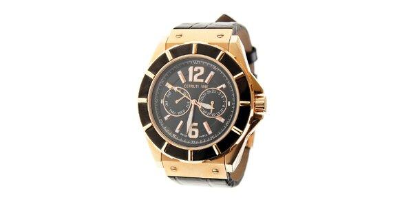 Pánske hodinky Cerruti 1881 s koženým remienkom a zlatými detailami b7bf3000ee6