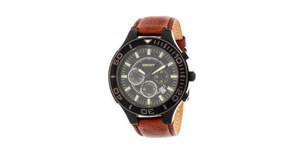 Pánske čierne hodinky DKNY s hnedým koženým ramienkom