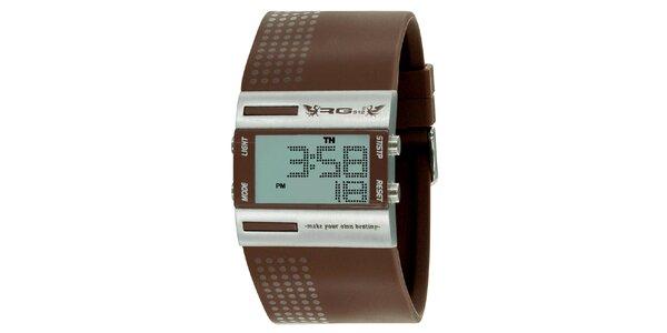 Strieborné digitálne hodinky so širokým hnedým remienkom RG512