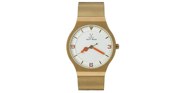 Zlaté analógové hodinky Toy s červenými detailmi