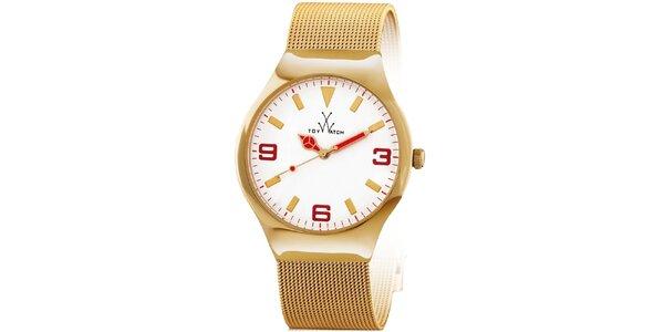 Zlaté analógové náramkové hodinky Toy s červenými detailmi