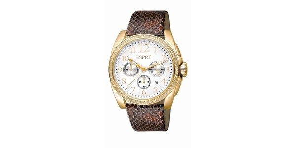 Dámske hnedo-zlaté hodinky s chronografom Esprit