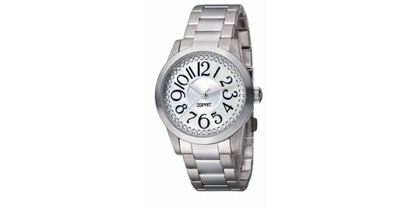 Dámske oceľové hodinky s čiernymi číslicami Esprit