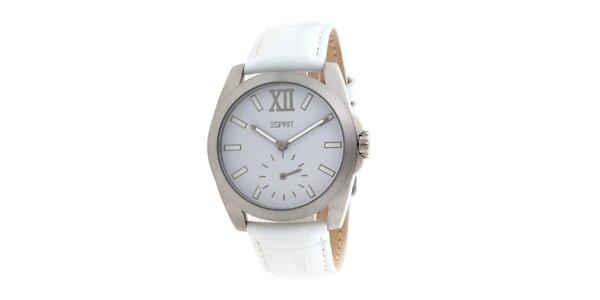 Dámske strieborné hodinky s bielym remienkom Esprit