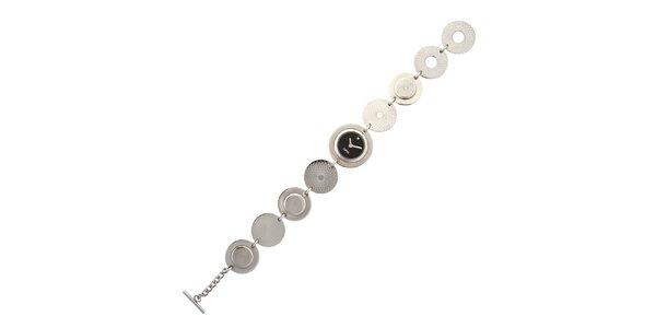 Dámske strieborné náramkové hodinky Esprit s čiernym ciferníkom