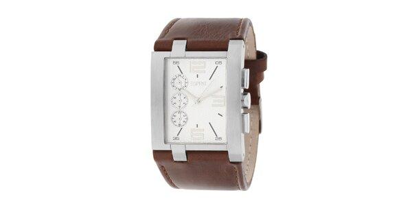 Pánske oceľové hranaté hodinky s koženým hnedým remienkom Esprit