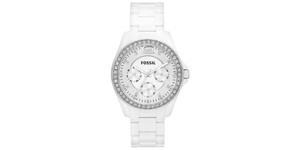 Dámske biele analogové hodinky so zirkónmi Fossil