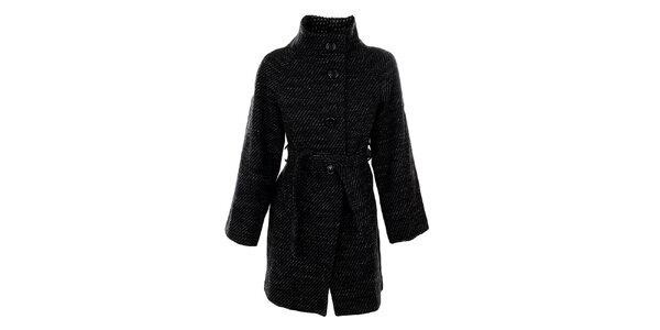 Dámsky čiernobiely kabát s opaskom Straboski