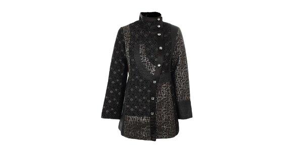 Dámsky čierny kabát so vzormi Gémo