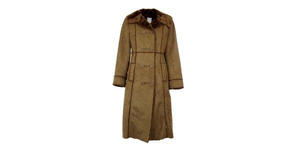 Dámsky dlhý hnedý kabát Gémo