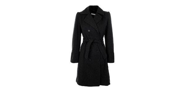 Dámsky šedý dvojradový kabát s opaskom Gémo