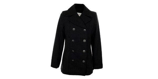 Dámsky kratší šedočierny dvojradový kabát Gémo
