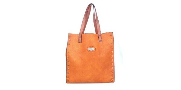 Dámska oranžová kabelka so žltým vakom vnútri Maku Barcelona