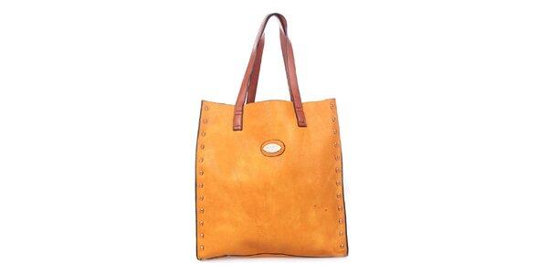 Dámska žltooranžová kabelka s tyrkysovým vakom vnútri Maku Barcelona