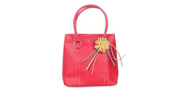 Dámska červená kabelka s kvetinkou Maku Barcelona