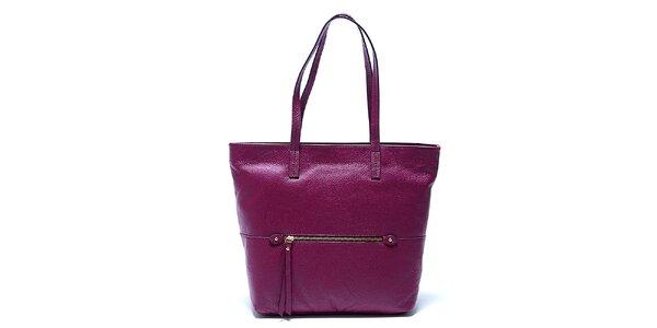Elegantná fialová kožená kabelka Renata Corsi