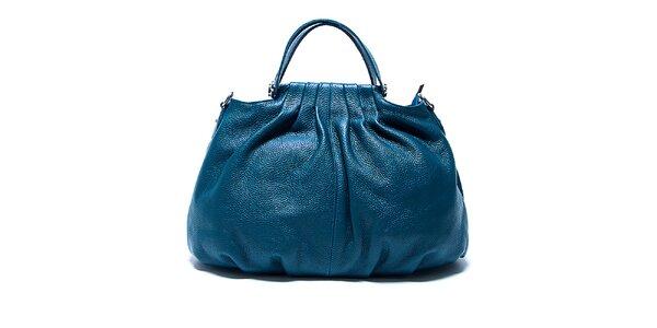 Dámska tyrkysová kožená kabelka s béžovými detailmi Renata Corsi